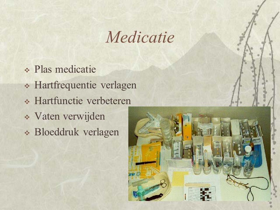 Medicatie Plas medicatie Hartfrequentie verlagen