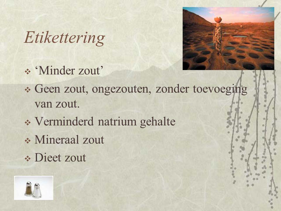 Etikettering 'Minder zout'