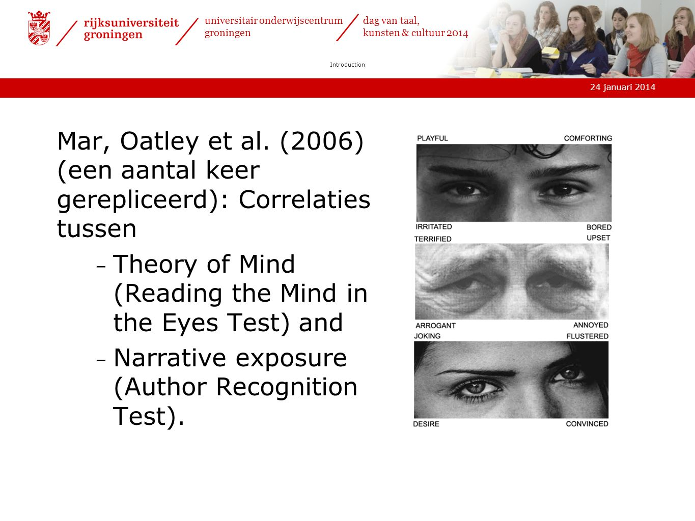 Theory of Mind (Reading the Mind in the Eyes Test) and
