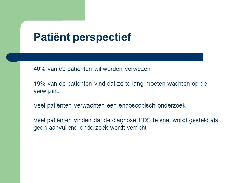 Patiënt perspectief 40% van de patiënten wil worden verwezen. 19% van de patiënten vind dat ze te lang moeten wachten op de verwijzing.
