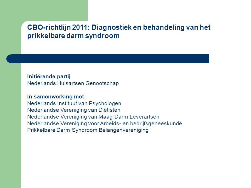 CBO-richtlijn 2011: Diagnostiek en behandeling van het prikkelbare darm syndroom