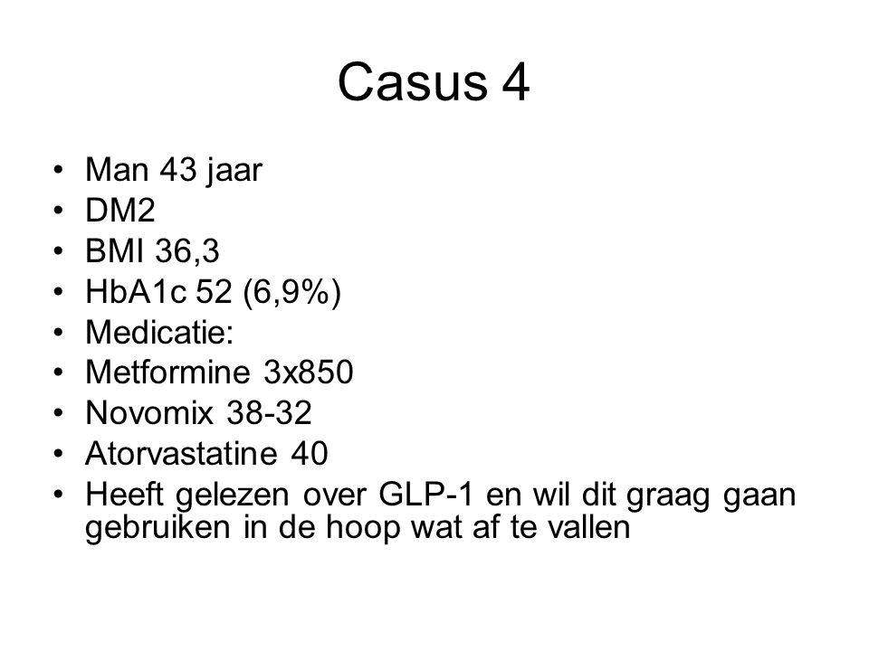 Casus 4 Man 43 jaar DM2 BMI 36,3 HbA1c 52 (6,9%) Medicatie: