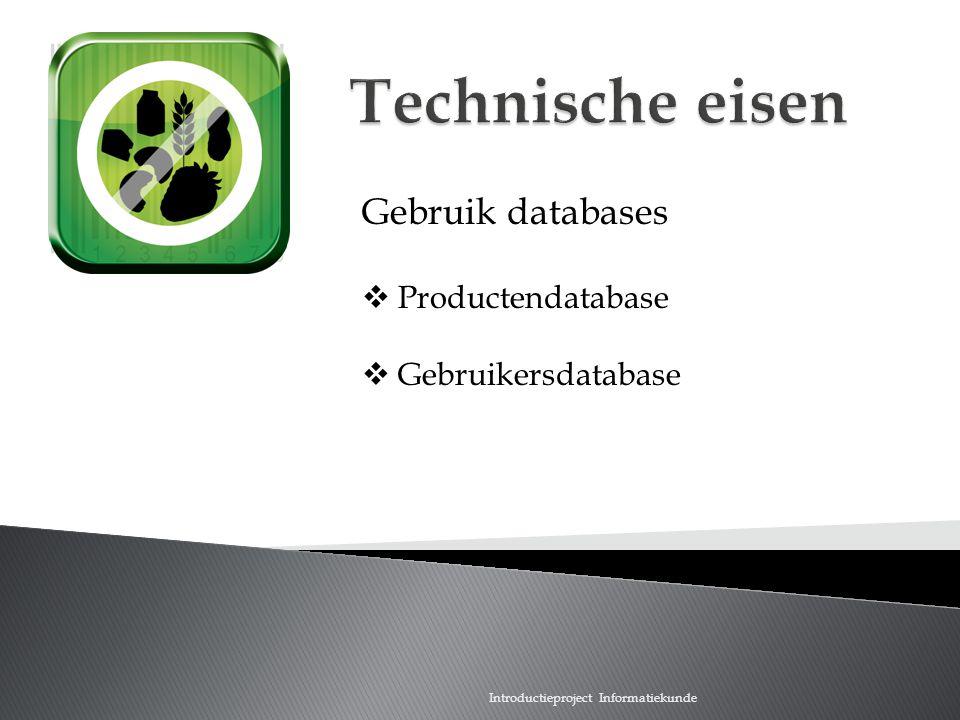 Technische eisen Gebruik databases Productendatabase