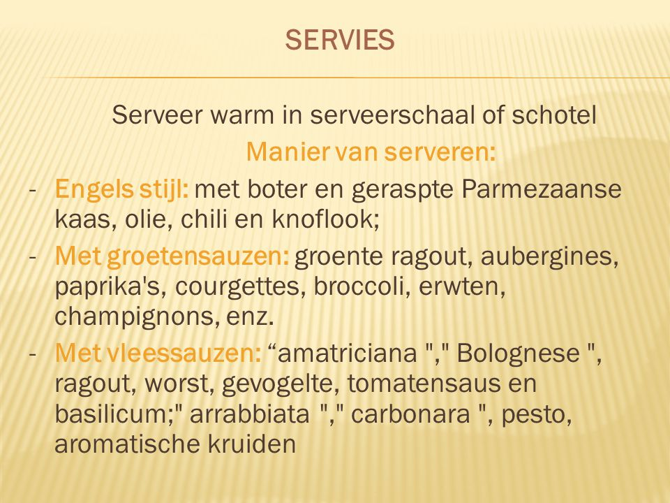 Serveer warm in serveerschaal of schotel
