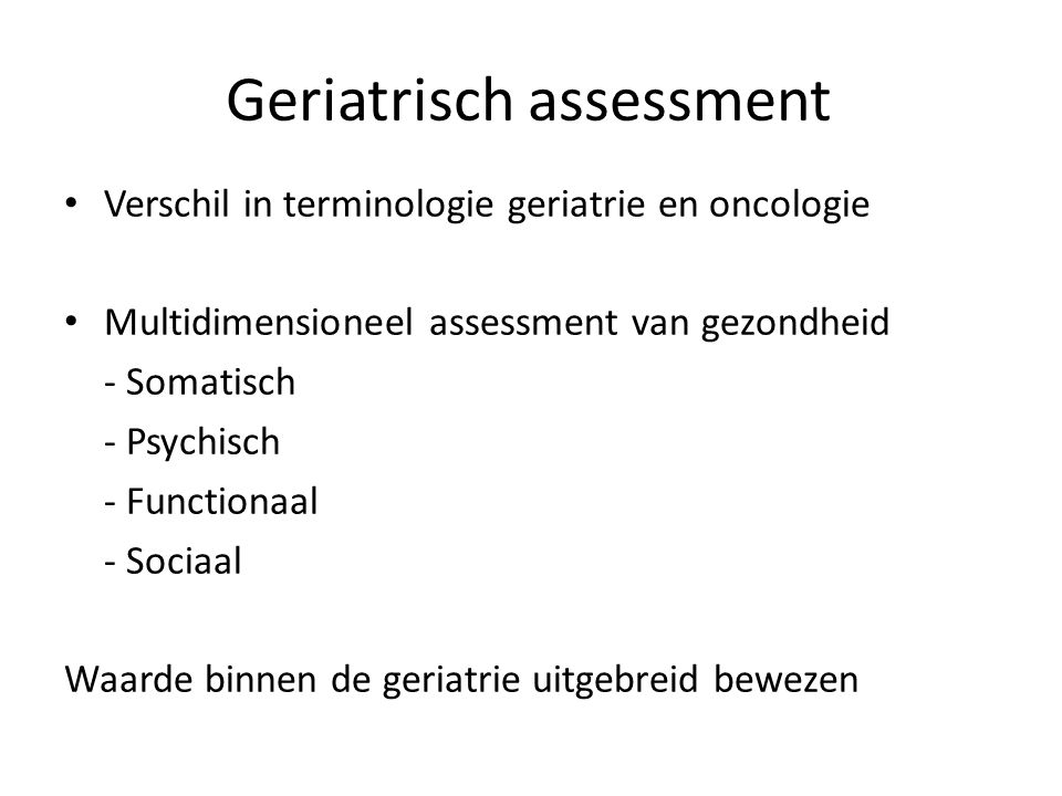 Geriatrisch assessment