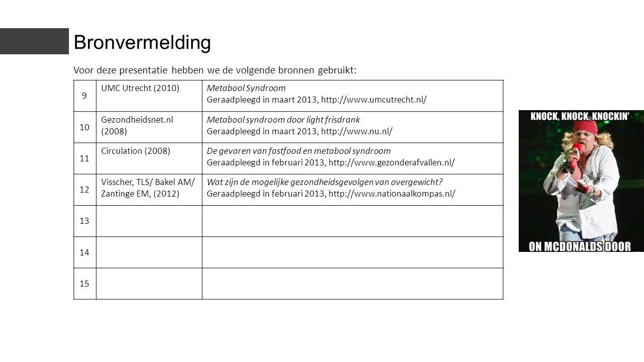 Bronvermelding Voor deze presentatie hebben we de volgende bronnen gebruikt: 9. UMC Utrecht (2010)
