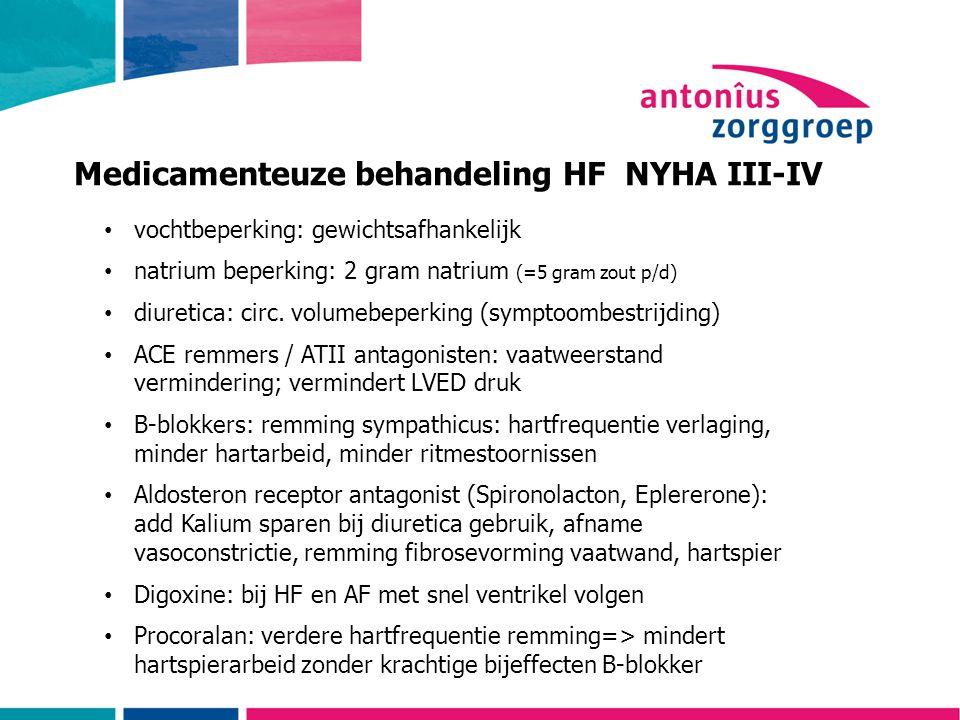 Medicamenteuze behandeling HF NYHA III-IV
