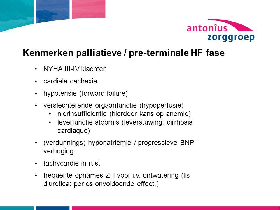 Kenmerken palliatieve / pre-terminale HF fase