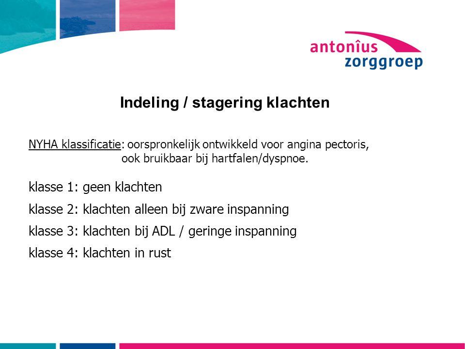 Indeling / stagering klachten