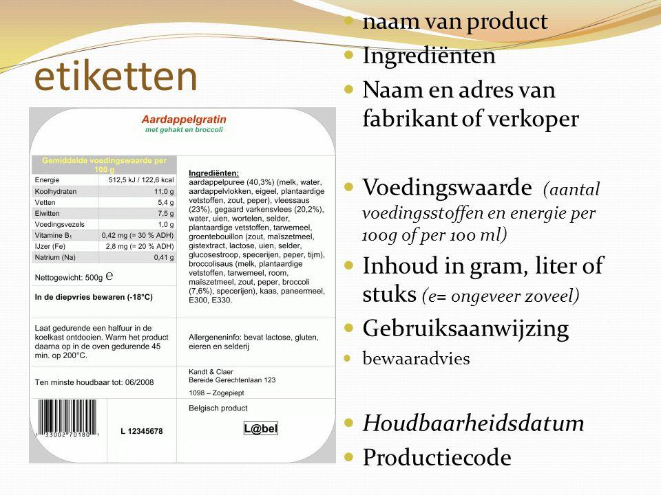 etiketten naam van product Ingrediënten