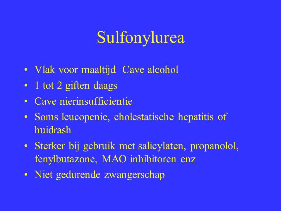 Sulfonylurea Vlak voor maaltijd Cave alcohol 1 tot 2 giften daags