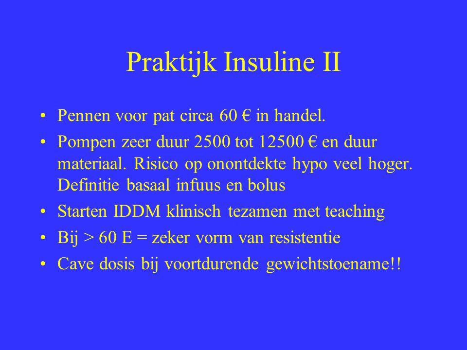 Praktijk Insuline II Pennen voor pat circa 60 € in handel.