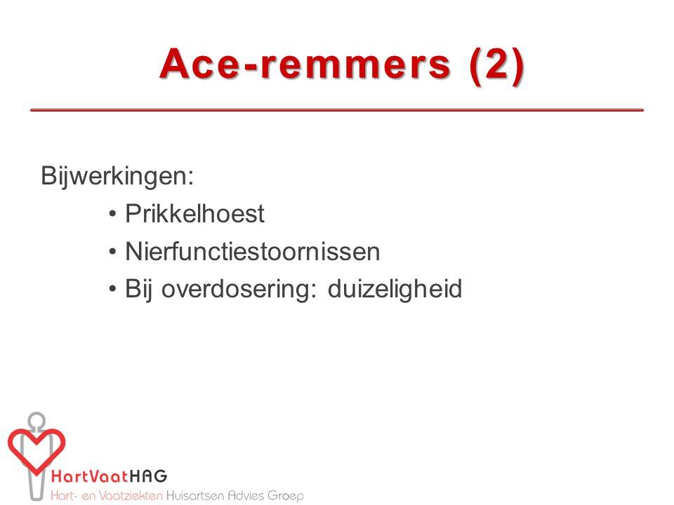 Ace-remmers (2) Bijwerkingen: Prikkelhoest Nierfunctiestoornissen