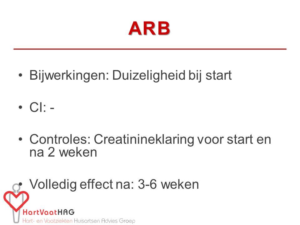 ARB Bijwerkingen: Duizeligheid bij start CI: -