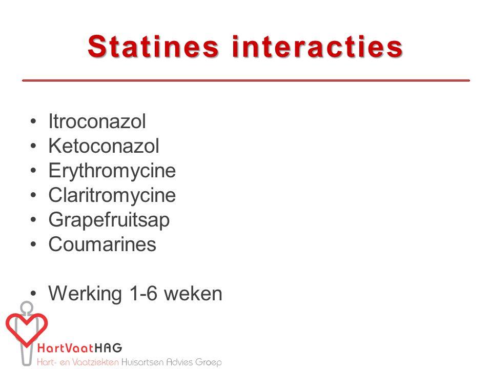 Statines interacties Itroconazol Ketoconazol Erythromycine