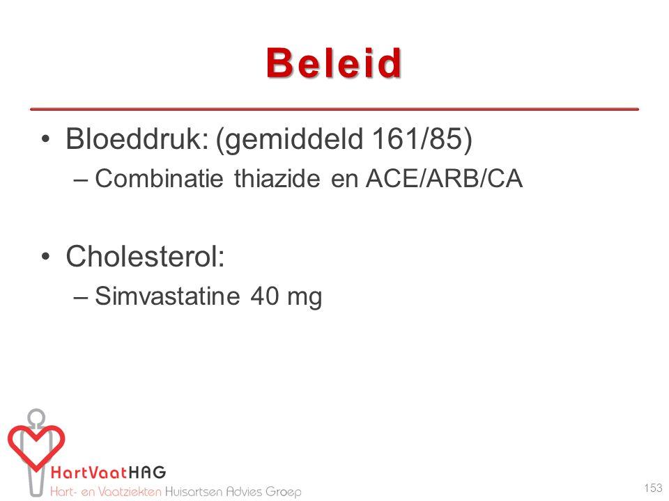 Beleid Bloeddruk: (gemiddeld 161/85) Cholesterol: