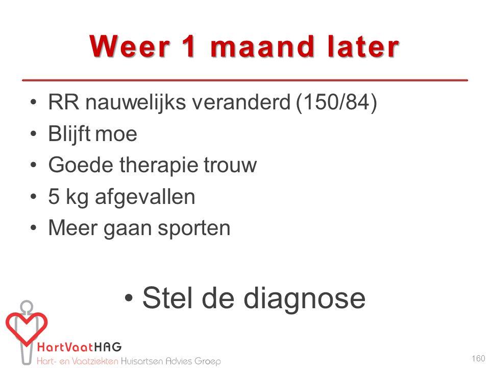 Weer 1 maand later Stel de diagnose RR nauwelijks veranderd (150/84)