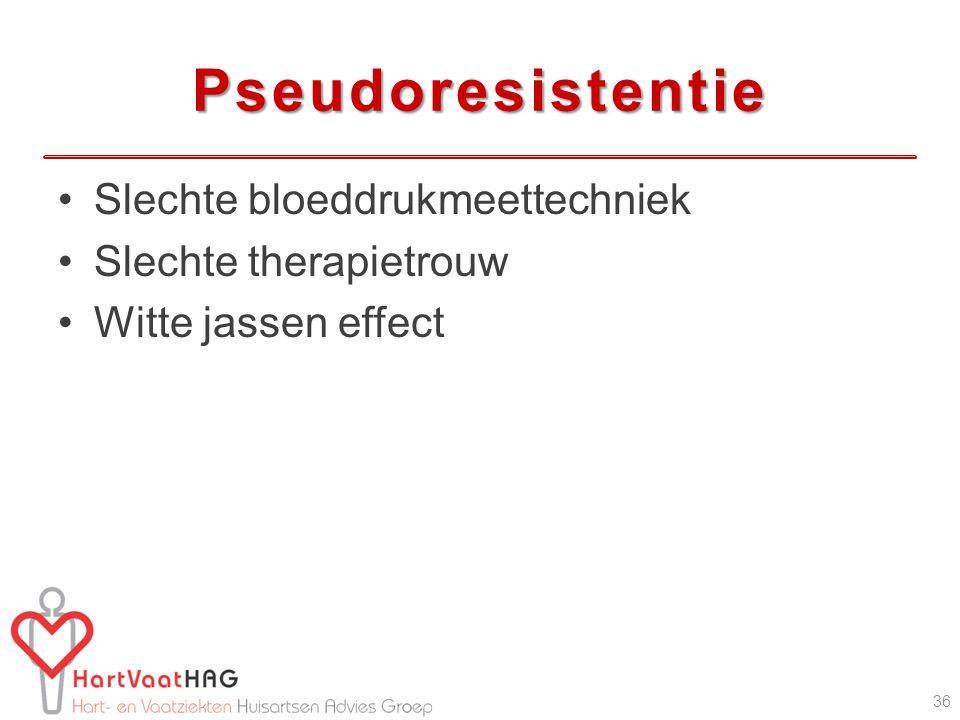 Pseudoresistentie Slechte bloeddrukmeettechniek Slechte therapietrouw