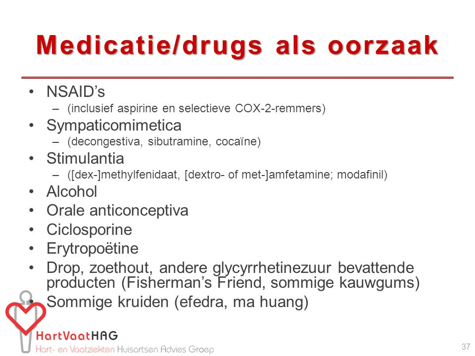 Medicatie/drugs als oorzaak
