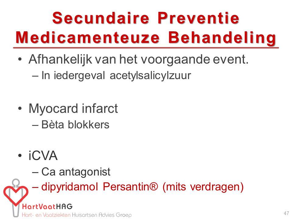 Secundaire Preventie Medicamenteuze Behandeling