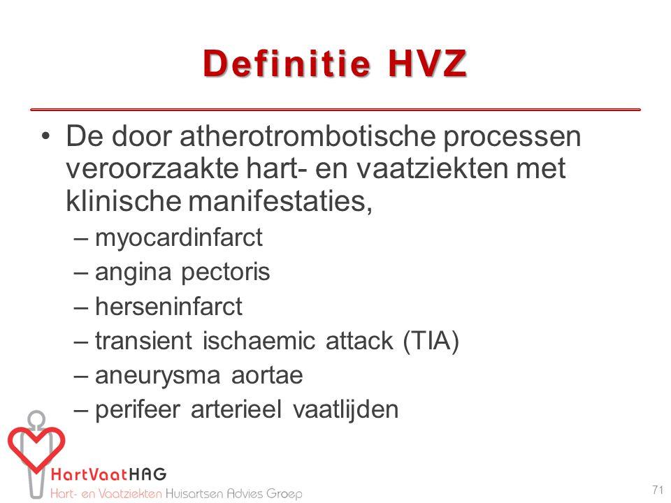 Definitie HVZ De door atherotrombotische processen veroorzaakte hart- en vaatziekten met klinische manifestaties,