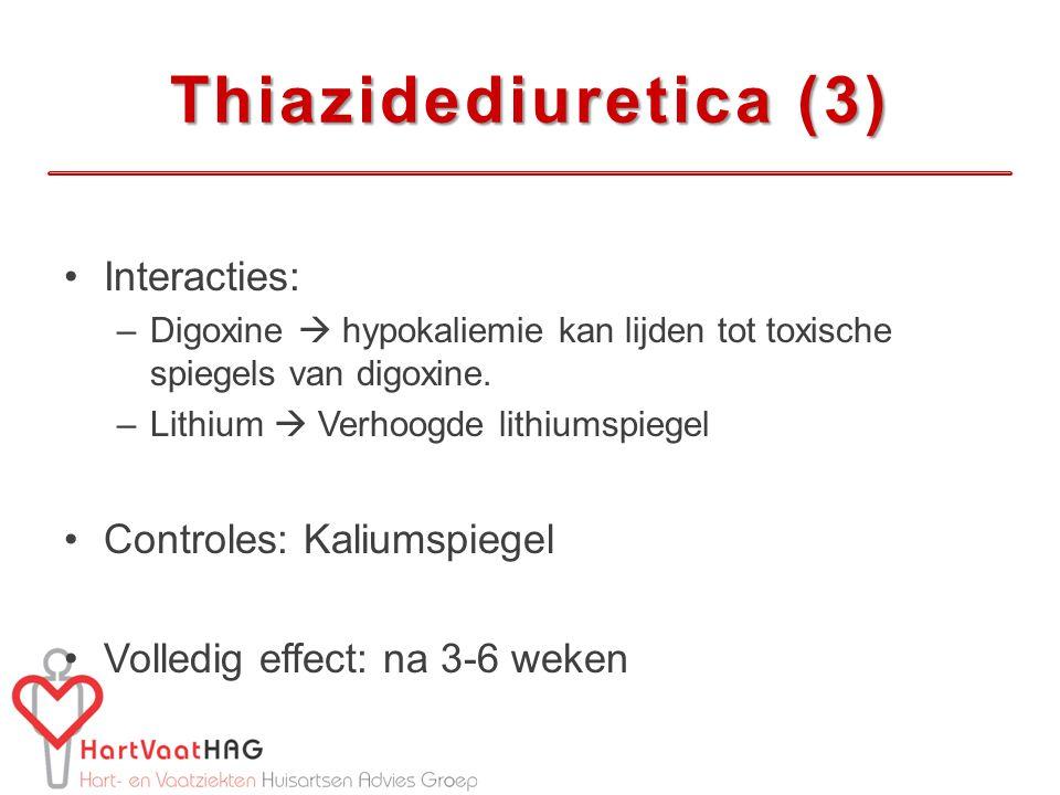 Thiazidediuretica (3) Interacties: Controles: Kaliumspiegel