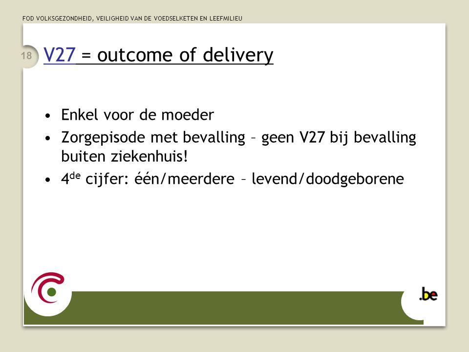 V27 = outcome of delivery Enkel voor de moeder