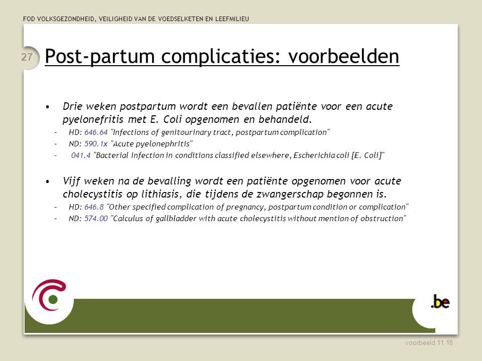 Post-partum complicaties: voorbeelden