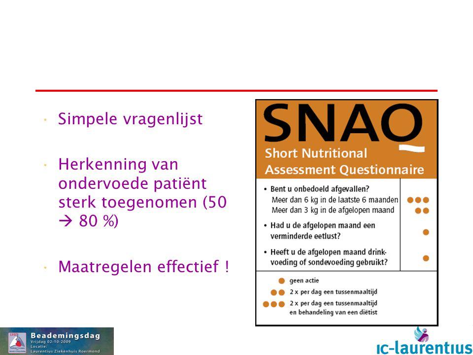 Simpele vragenlijst Herkenning van ondervoede patiënt sterk toegenomen (50  80 %) Maatregelen effectief !