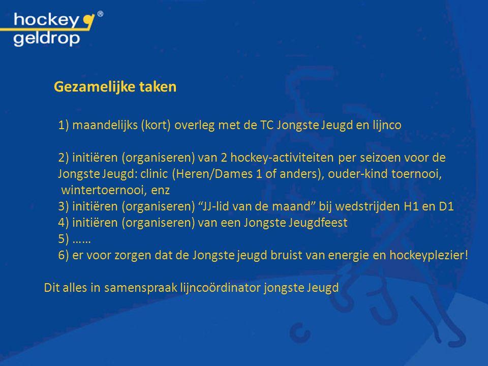 Gezamelijke taken 1) maandelijks (kort) overleg met de TC Jongste Jeugd en lijnco.