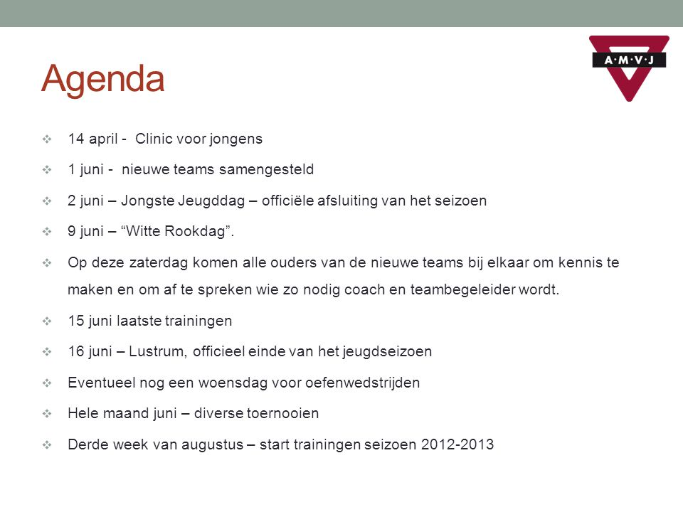 Agenda 14 april - Clinic voor jongens