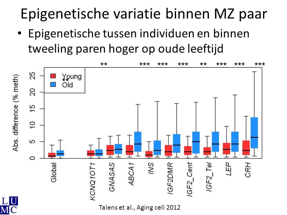 Epigenetische variatie binnen MZ paar
