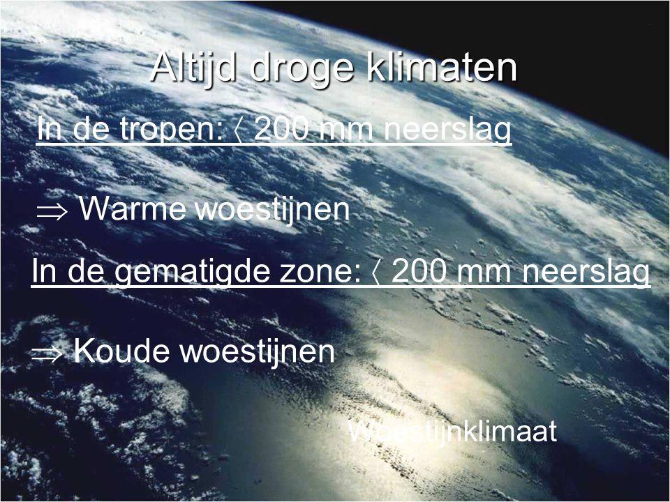 Altijd droge klimaten In de tropen:  200 mm neerslag