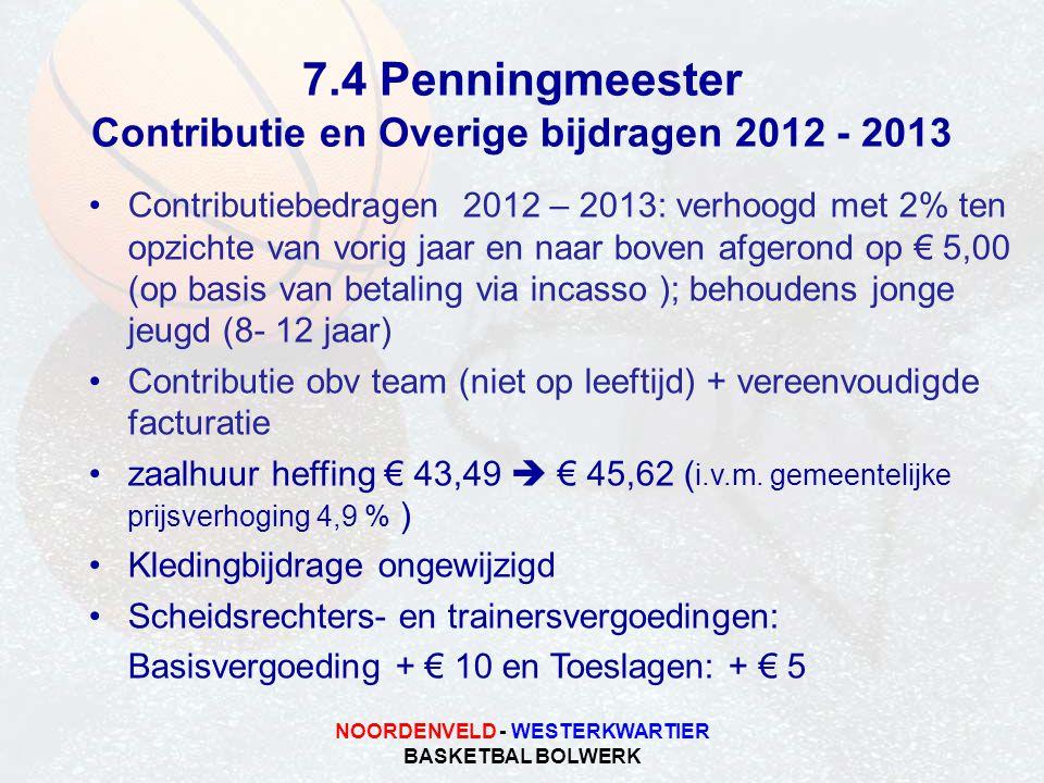 7.4 Penningmeester Contributie en Overige bijdragen 2012 - 2013