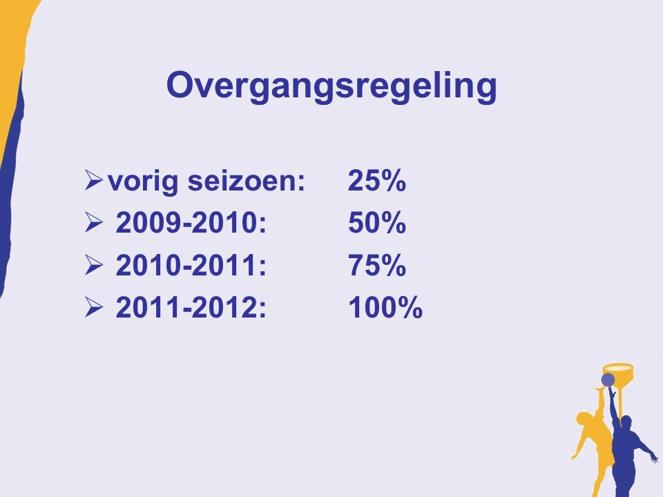 Overgangsregeling vorig seizoen: 25% 2009-2010: 50% 2010-2011: 75%