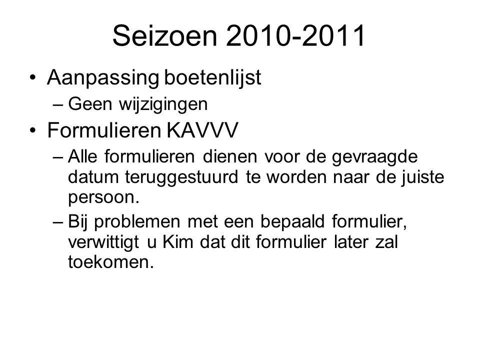 Seizoen 2010-2011 Aanpassing boetenlijst Formulieren KAVVV