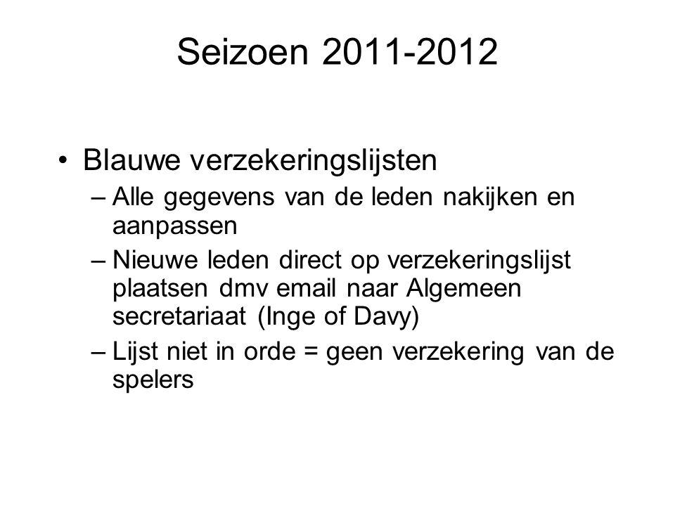 Seizoen 2011-2012 Blauwe verzekeringslijsten