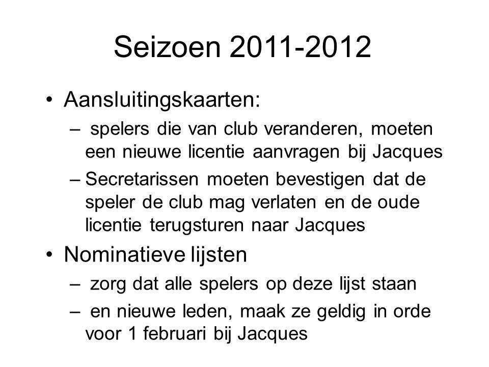 Seizoen 2011-2012 Aansluitingskaarten: Nominatieve lijsten