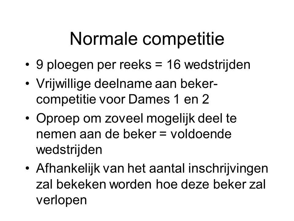 Normale competitie 9 ploegen per reeks = 16 wedstrijden