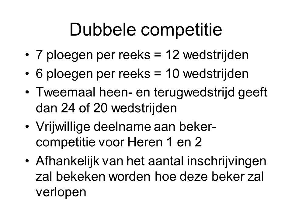 Dubbele competitie 7 ploegen per reeks = 12 wedstrijden