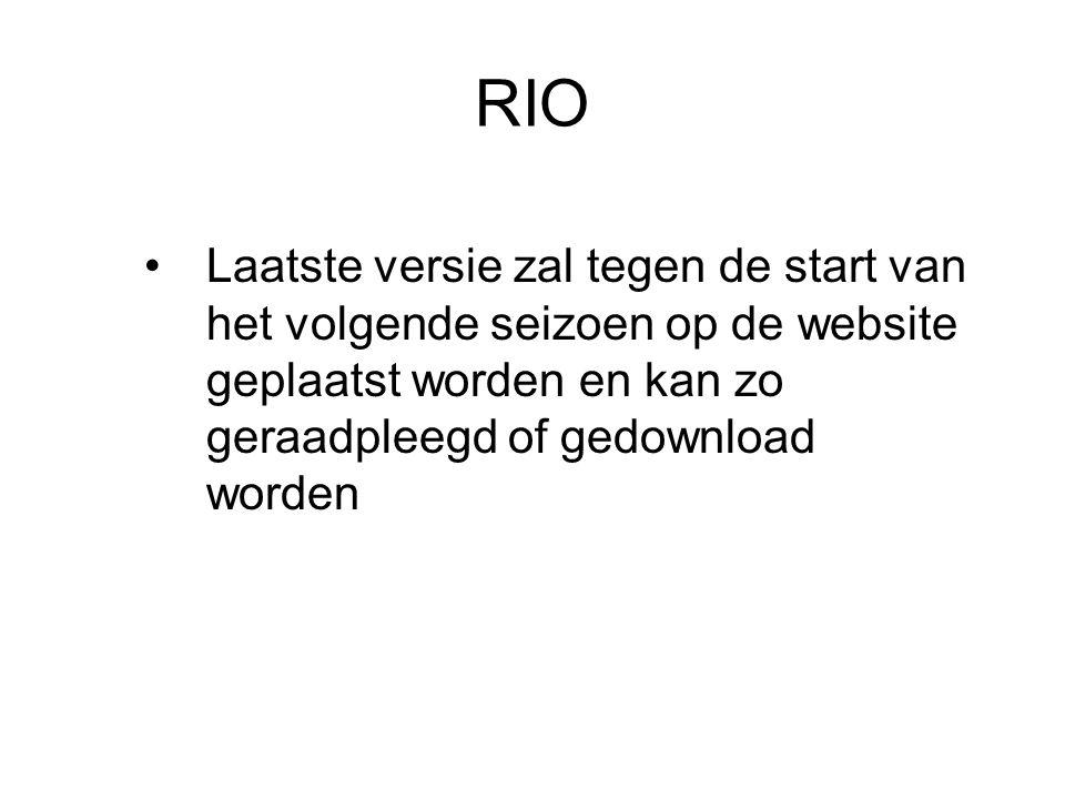 RIO Laatste versie zal tegen de start van het volgende seizoen op de website geplaatst worden en kan zo geraadpleegd of gedownload worden.