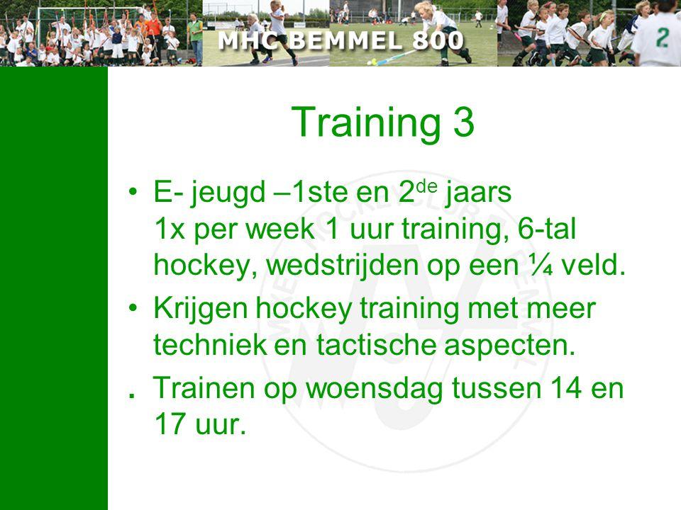 Training 3 E- jeugd –1ste en 2de jaars 1x per week 1 uur training, 6-tal hockey, wedstrijden op een ¼ veld.