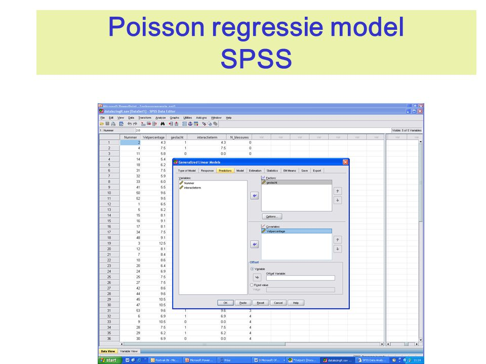 Poisson regressie model SPSS