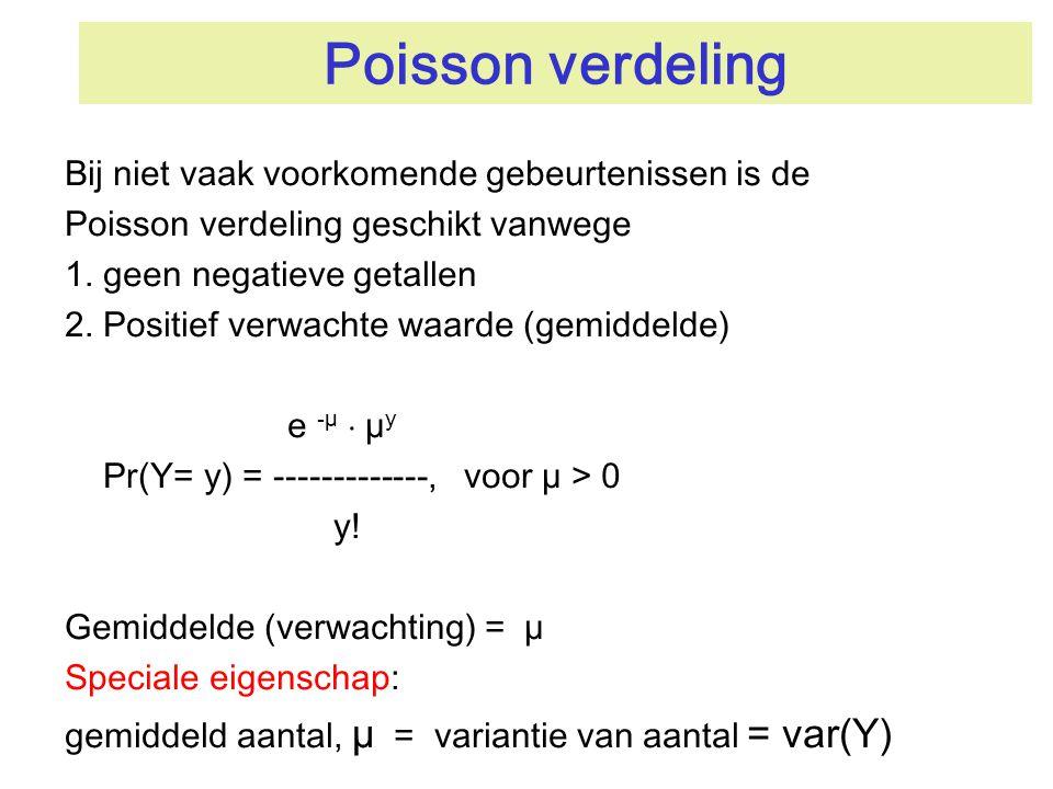 Poisson verdeling Bij niet vaak voorkomende gebeurtenissen is de