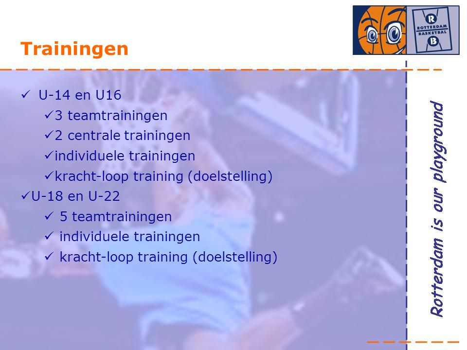 Trainingen U-14 en U16 3 teamtrainingen 2 centrale trainingen