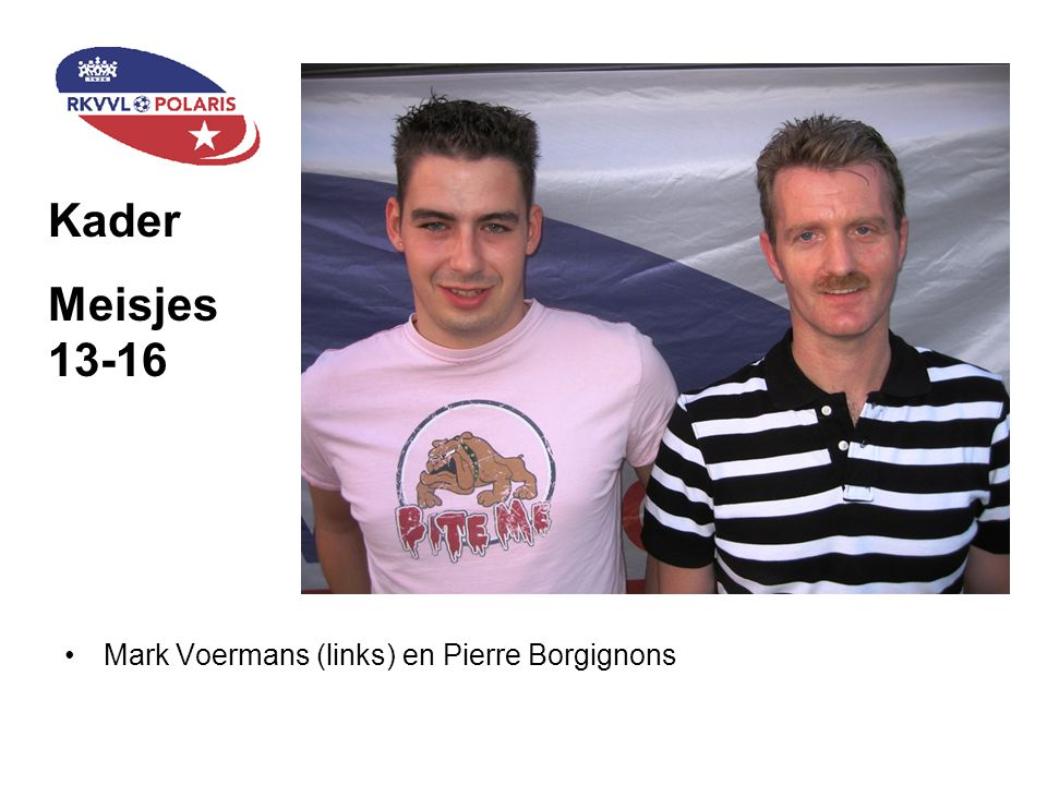 Kader Meisjes 13-16 Mark Voermans (links) en Pierre Borgignons