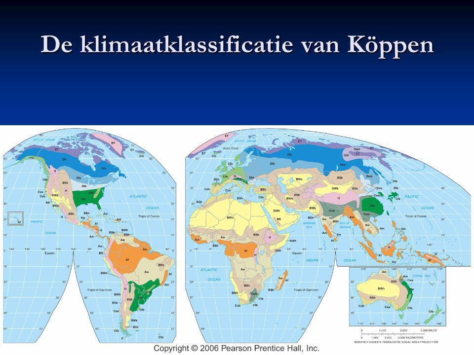 De klimaatklassificatie van Köppen