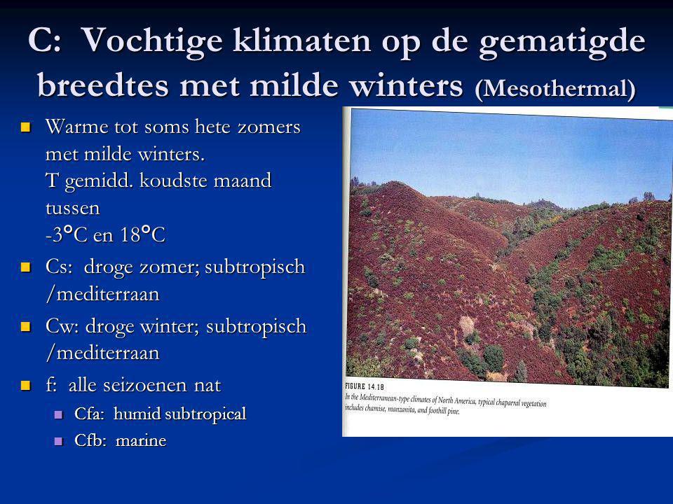 C: Vochtige klimaten op de gematigde breedtes met milde winters (Mesothermal)