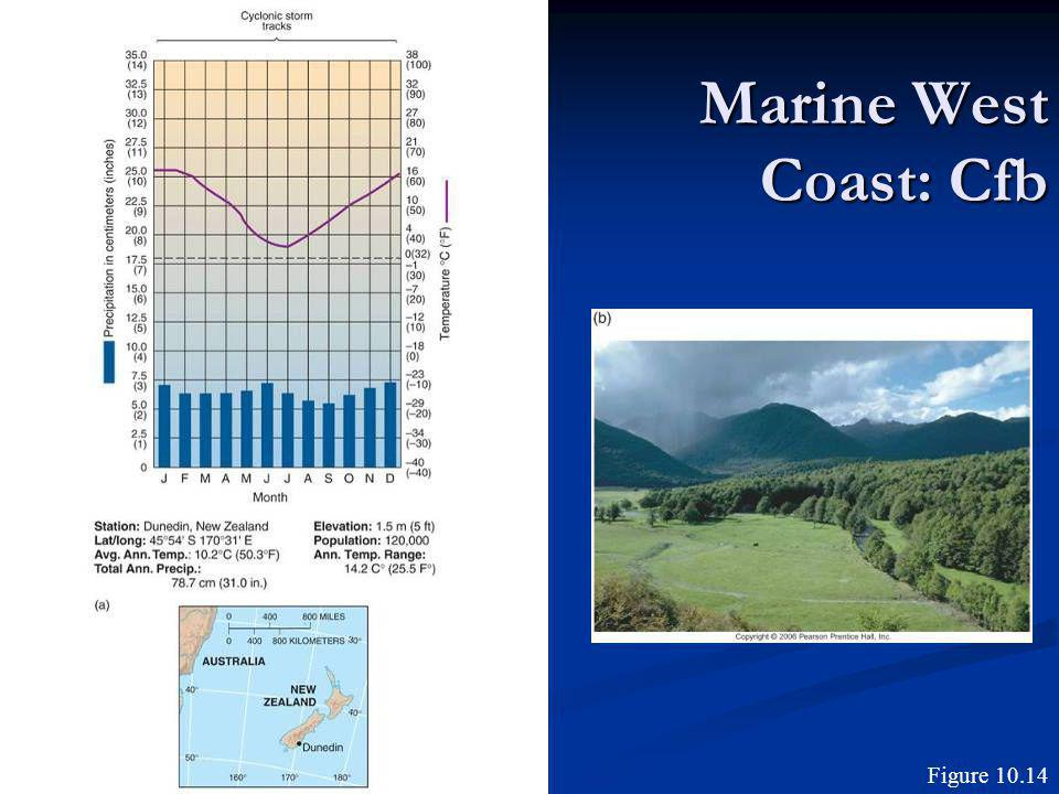 Marine West Coast: Cfb Figure 10.14