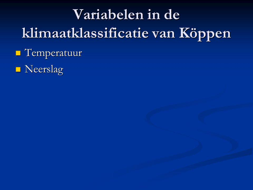 Variabelen in de klimaatklassificatie van Köppen